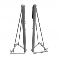 Słupki do siatkówki aluminiowe turniejowe na podstawie ramowej, przykręcane do podłoża, profil 120x100 mm