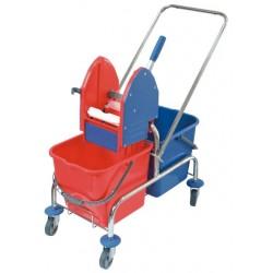 Wózek do sprzątania podwójny, chromowany