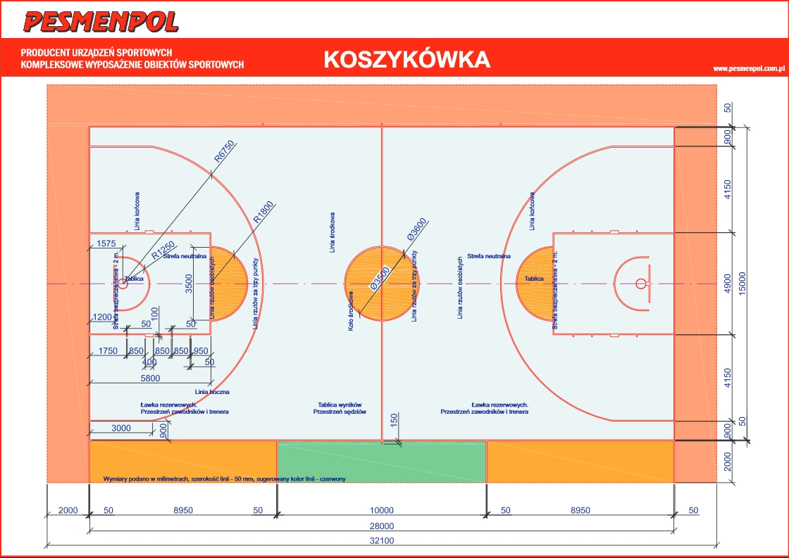 Pesmenpol producer of sports devices equipment for for Average basketball court size