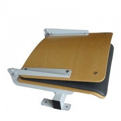 Auditorium seat with folding backrest, made of beech plywood with upholstery pad, mounted to the step