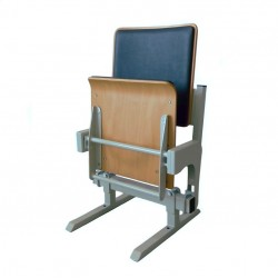 Gravity tilting auditorium seat, made of beech plywood with upholstery pad
