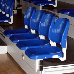 Plastic seats for tribune SP-38 with folding backrest, mounted to the step