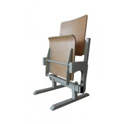 Gravity tilting auditorium seat, made of beech plywood
