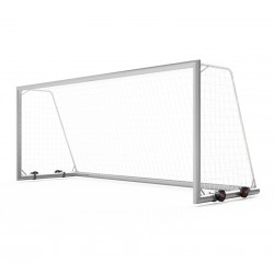 Mobile aluminum football goals 5x2 m with 4 wheels, main frame and bottom frame - profile 120x100 mm