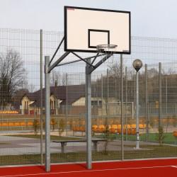Баскетбольная конструкция с основой из двух стоек для щита 105х180 см, установка во втулке