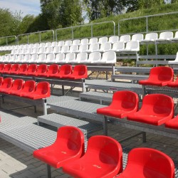Stationary tribunes with plastic seats - for outdoor use