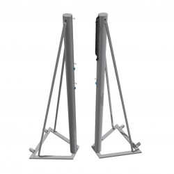 Tournament aluminum volleyball posts with framework installed to the ground, profile 120x100 mm