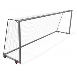 Mobile aluminum football goals 7,32x2,44 m with 4 wheels