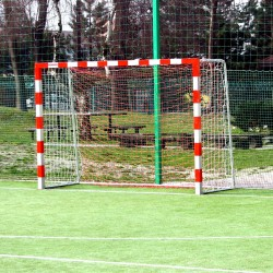 Steel handball goals, the main frame all-welded, with folding bows
