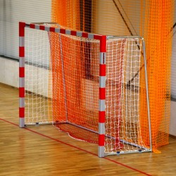 Aluminum handball goals, the main frame all-welded, with folding bows