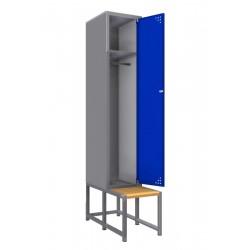 Стальной шкаф для одежды (одинарный) с лавкой