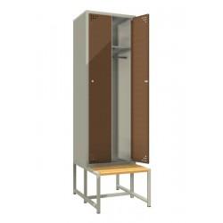 Стальной шкаф для одежды (двойной) с лавкой