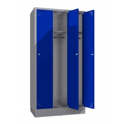 Triple steel clothes locker