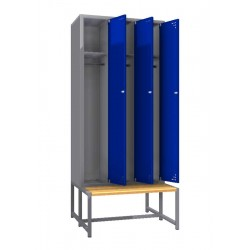 Triple steel clothes locker with a bench