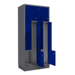 """Стальной шкаф для одежды с дверцами в форме """"L"""" - 2 пары дверей"""