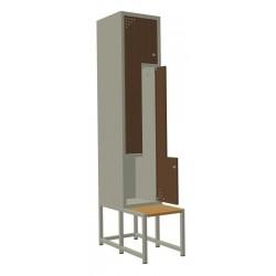"""Szafa metalowa ubraniowa z drzwiami typu """"L"""" - 2-drzwiowa z ławką"""