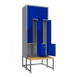 """Стальной шкаф для одежды с дверцами в форме """"L"""" - 2 пары дверей, с лавкой"""