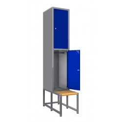 Steel safe locker with 2 compartments and a bench