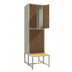 Steel safe locker with 4 compartments and a bench