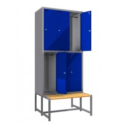 Steel safe locker with 6 compartments and a bench
