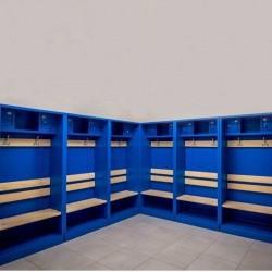 Metal shelter for locker room
