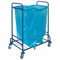 Double trolley for waste, powder coated