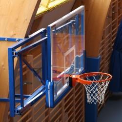 Konstrukcja do koszykówki uchylna składana w bok, wysięg od 100 do 160 cm