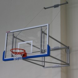 Tilting basketball structure with lashings, side wall foldable, projection 230 cm - 330 cm