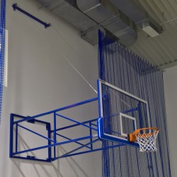 Tilting basketball structure with lashings, side wall foldable, projection 340 cm - 440 cm