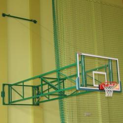 Konstrukcja do koszykówki uchylna z odciągami linowymi, wysięg od 450 do 550 cm