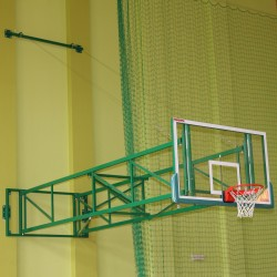 Tilting basketball structure with lashings, side wall foldable, projection 450 cm - 550 cm