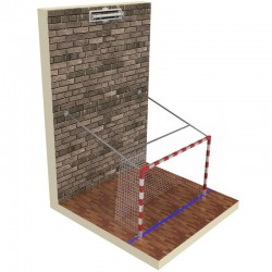 Professional aluminum handball goals, reinforced, lifted to the wall with electric drive