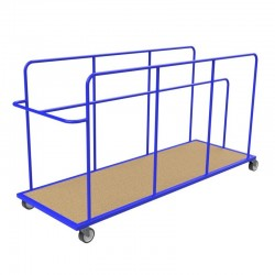 Four-wheeled trolley for mattresses placed vertically