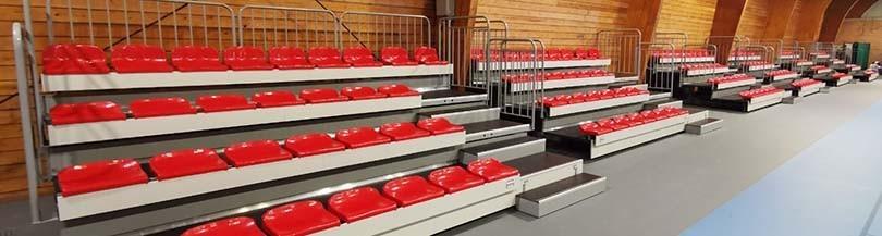 Trybuny teleskopowe, siedziska plastikowe